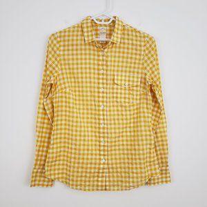 J.CREW Yellow Gingham Seersuckered Perfect Shirt 2